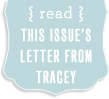 Read This Issue's Letter From Tracey