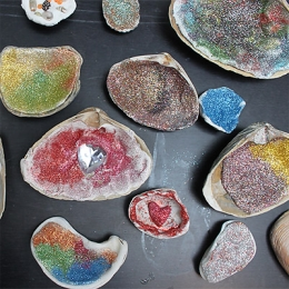Kid-Created Glitter Shells