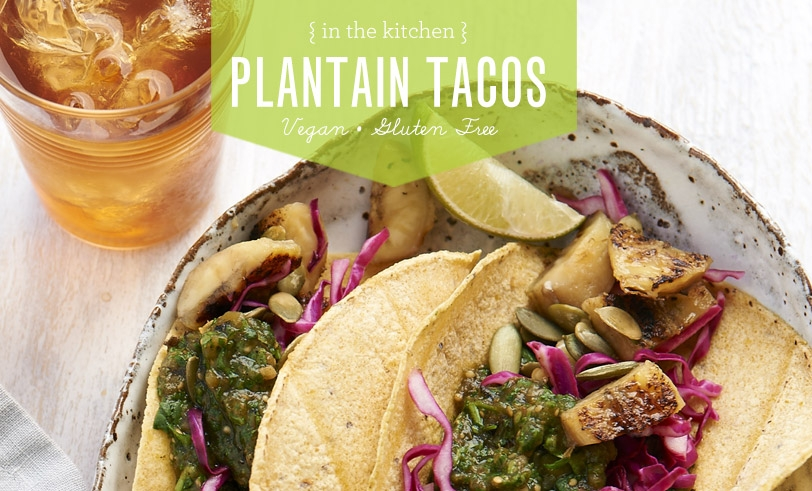 Tacos with Salted Grilled Plantains, Salsa Verde, and Pepitas