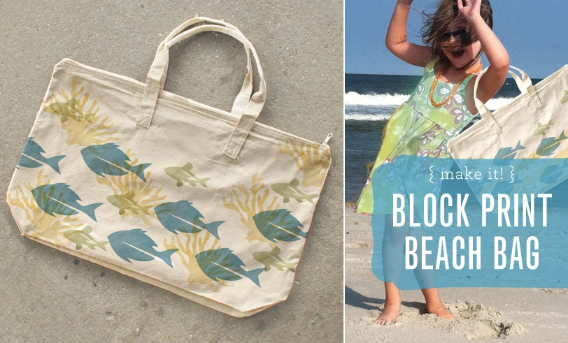 Block Print Beach Bag